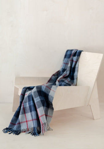 Recycled Wool Knee Blanket in Douglas Navy Tartan