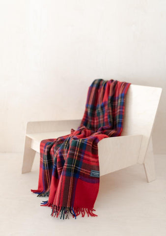 Recycled Wool Knee Blanket in Stewart Royal Tartan