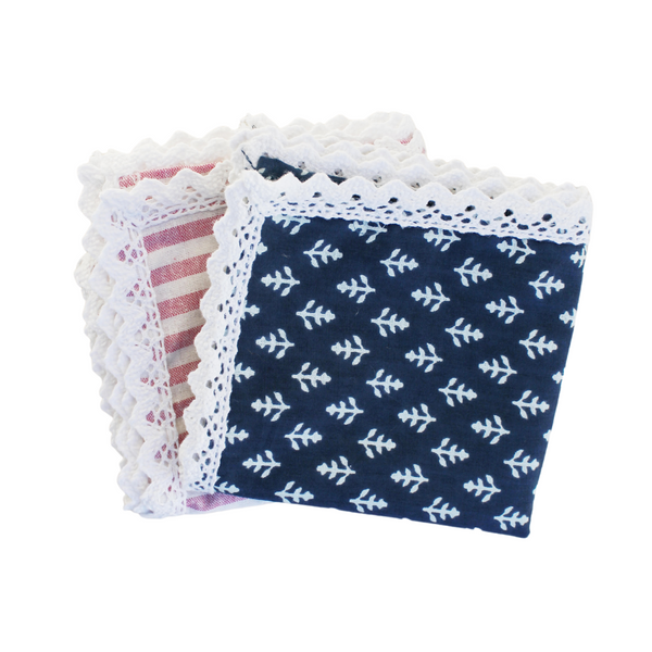 Navy Napkin with Lace (Set of 4)