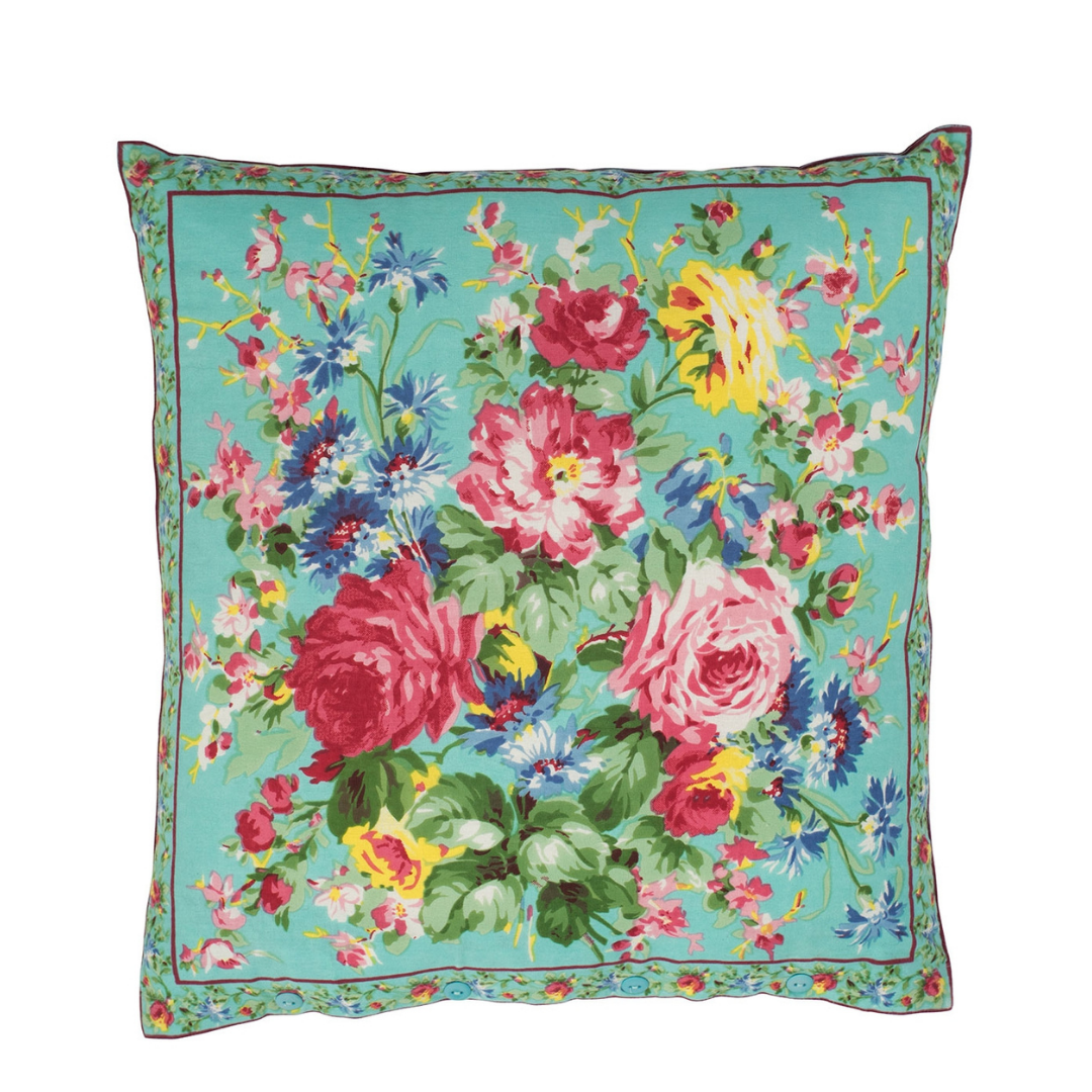 Cottage Rose Cushion Cover (Aqua)