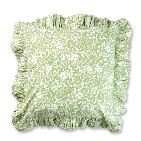 Flower Cushion Cover (Green)