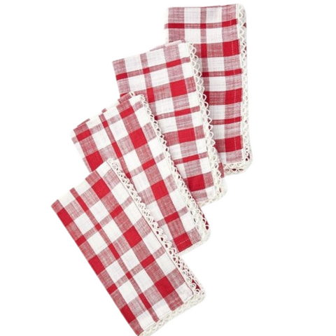 April Cornell Strawberry Check Napkin (Set of 4)
