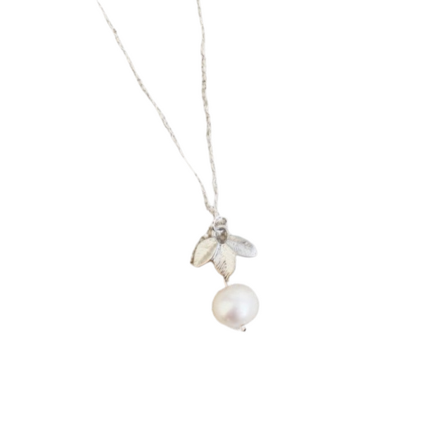 Silver Leaf Freshwater Pearl Necklace
