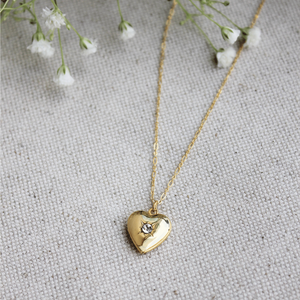 Small Heart Locket with Crystal