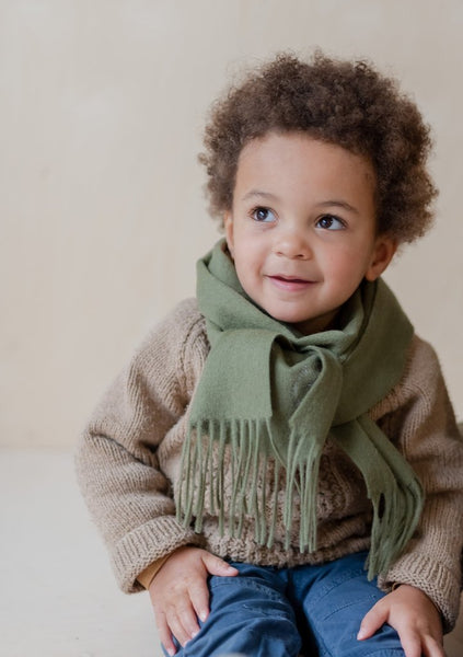 Lambswool Kids Scarf in Olive