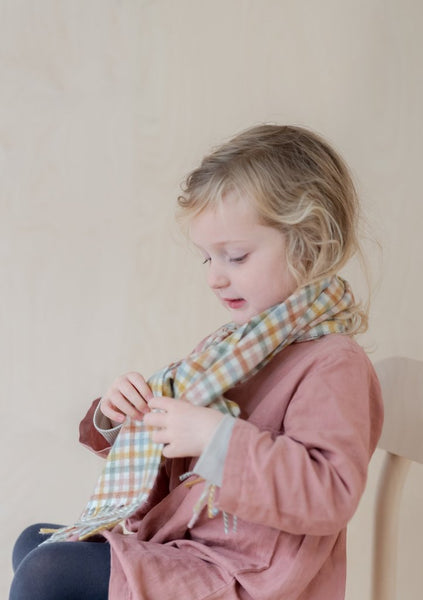 Lambswool Kids Scarf in Rainbow Gingham
