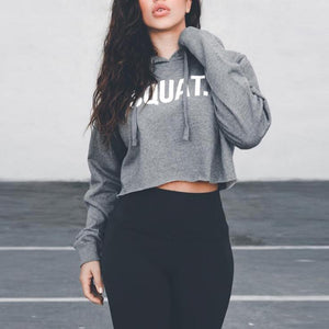 Cotton Letter Crop Top Sports Yoga Shirts / Women Spring Autumn Long Sleeves Hoodie
