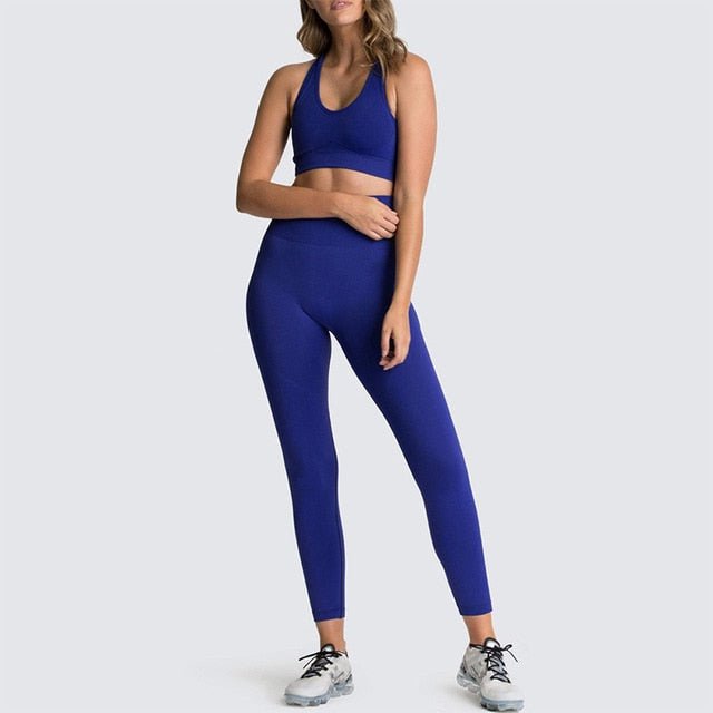 2020 Women's Yoga Set Seamless Sportswear 2-Piece Gym Yoga Clothes Sports Bra + Leggings Running Wear