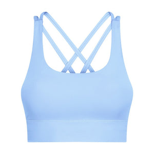 Nude-feel Brushed Back Shockproof Push Up Running Yoga and Gym Bra