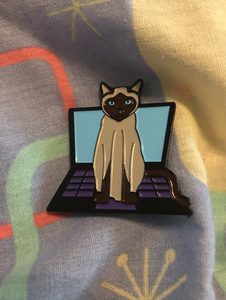 All Play and NO Work - Enamel Cat Pin with Backing