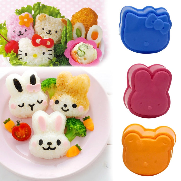 3Pcs Cute Cartoon Sushi Rice Mold - gadgets4chef