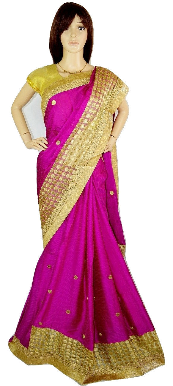 Grand Fuschia Colour & Gold  Net Work Party Wear Saree