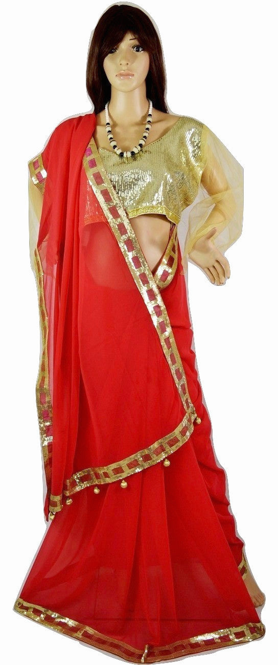 Dark Coral  Saree With Semi Stitched Gold Sequins Blouse