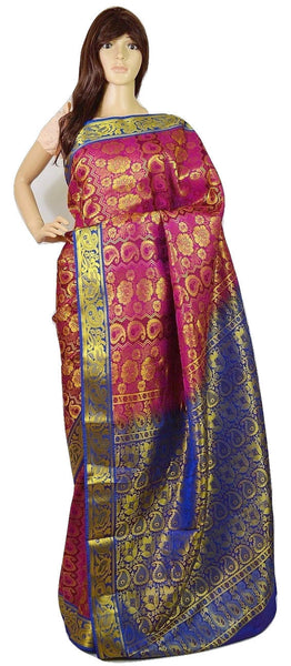 Pink, Blue & Gold  Kanchipuram Silk Saree