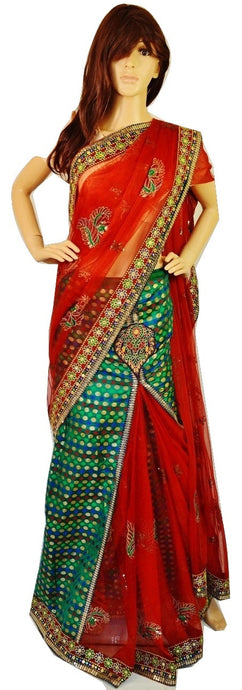 Green & Brown Ready Made Pleats Silk & Net Saree