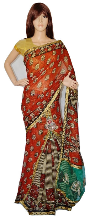Brown Net & Sequins Works One Minute  Saree