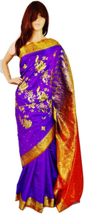 Purple & Orange Sequins Work Banaras Silk Saree