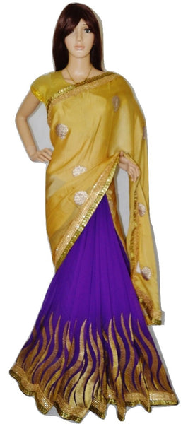 Cream & Purple Colour Party Wear Ladali Silk Saree