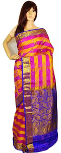 Pink,Orange & Purple Kanchipuram Pattu Silk Saree