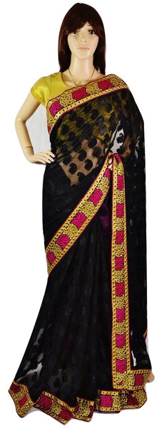 Beautiful Black ,Magenta &  Gold Party Saree