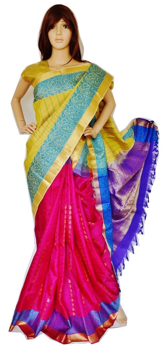 Magenta,Purple & Cream Kanchipuram Silk Saree