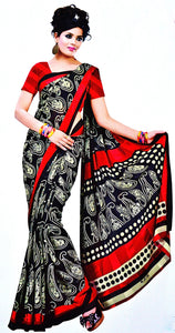 Black & Maroon Colour Shilpa Faux Crepe Silk Saree