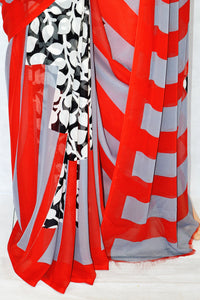 Beautiful Red, White & Black Leela Silk Saree