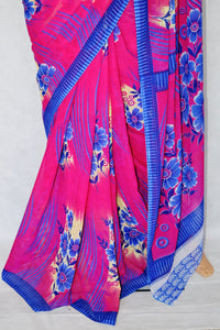 Pink & Blue Russion 3 Star Exclusive Fancy Saree