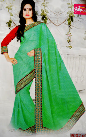 Gorgeous Green & Red Party Wear Saree