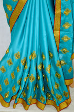Teal Party Saree With Red Brocade Blouse Piece