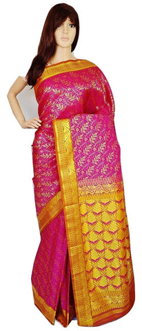 Dark Pink Colour Kanchipuram Pattu Silk Saree