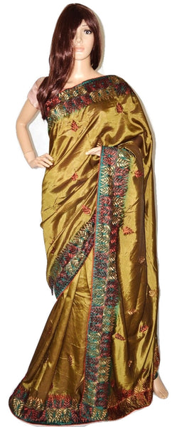 Beige,Red & Green Colour Zari Work Satin Saree