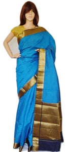 Blue & Gold Pure Silk & Cotton Saree