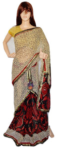 Cream Colour Sequins Work One Minute Saree