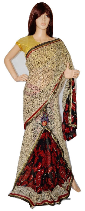 Cream & Maroon Sequins Work One Minute  Saree