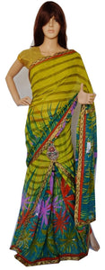 Green Stones & Sequins Works One Minute  Saree