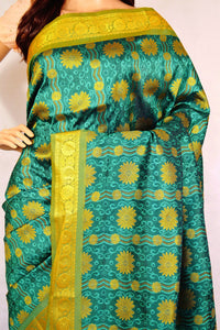 Light Green,Dark Green & Gold  Kanchipuram Silk Saree