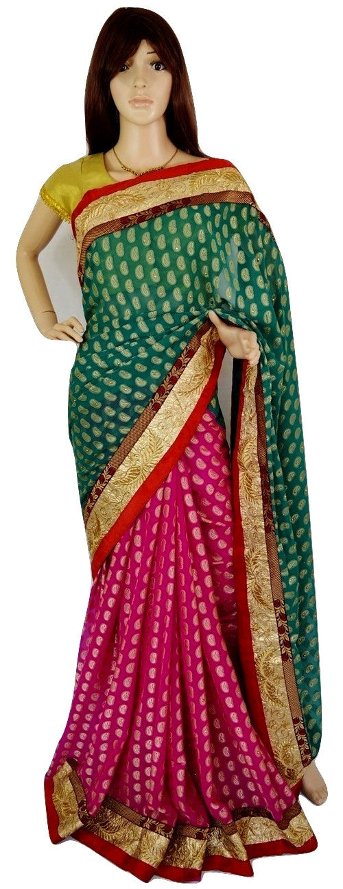 Fushcia & Green Stone Work Shital Fancy Jeard Saree