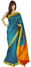 Turquoise Colour Stripe  Art Silk Saree
