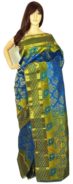 Blue &Turquoise  Kanchipuram Pattu Silk Saree