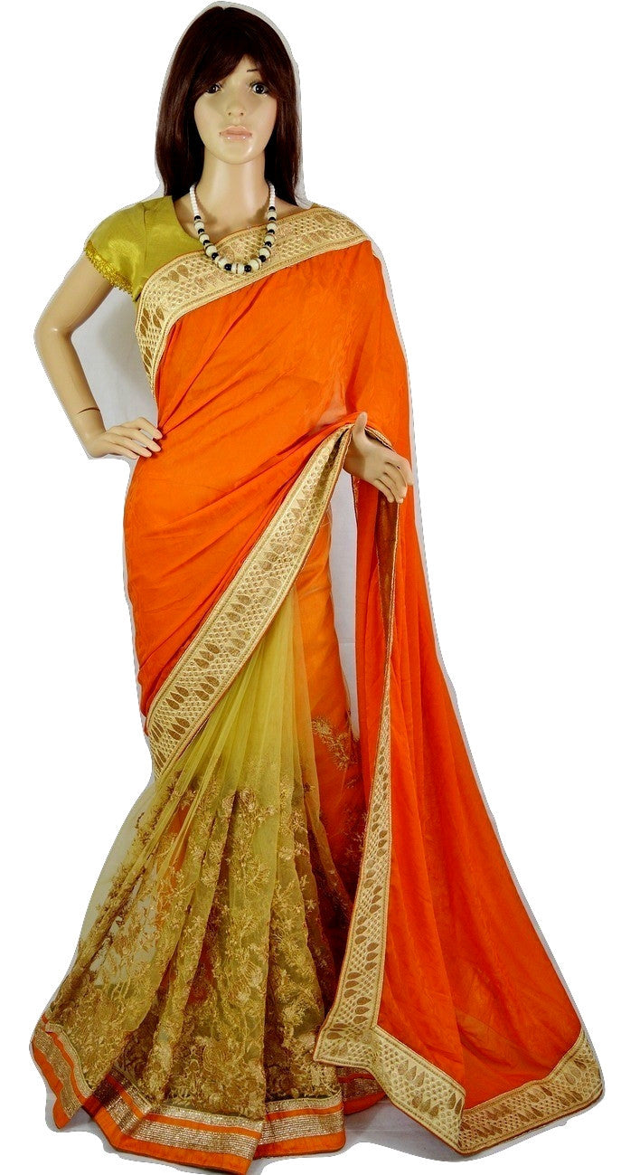 Latest Orange Colour Chiffon and Net Party Wear Saree