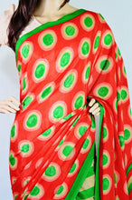 Red,Beige & Green Colour Kund Malai Crepe Silk Saree