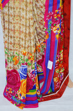 Red & Multi Colour Flower Print Suswani Saree