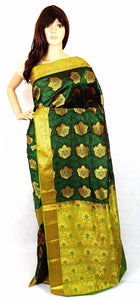 Maroon  Shade Green & Gold Kanchipuram Silk Saree