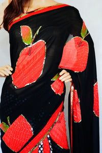Black & Red Colour Sequins Work Half & Half Saree