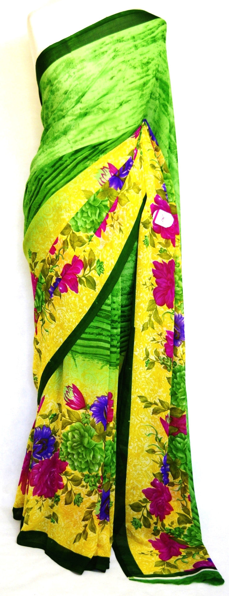 Russion 3 Star Green Fancy Saree With Blouse Piece