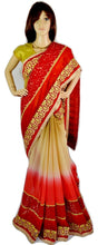 Gorgeous Red,Beige & Gold Colour Party Wear Saree