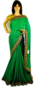 Green & Blue  Saree With Designer Work Blouse piece