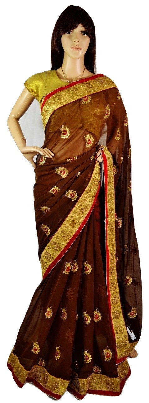 Gorgeous Brown ,Red & Gold Party Saree