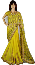 Eye Catching Lime Colour Pearl Work Party Wear Saree
